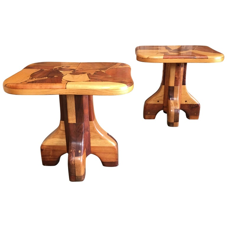 Pair of Abstract Marquetry Side Tables