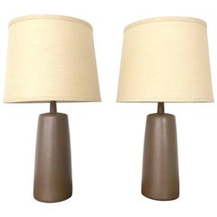 Pair of Ceramic Martz Lamps with Original Shade