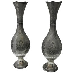 Pair of Very Large Persian Silver Vases