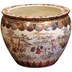 Large Porcelain Chinese Fishbowl Planter with Classic Oriental Decorations