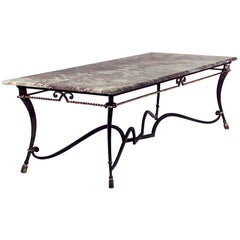 French 1940s Iron and Gilt Rope Trimmed Large Rectangular Centre Table
