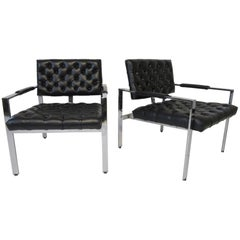 Milo Baughman Tufted Upholstered Chrome Armchairs for Thayer Coggin