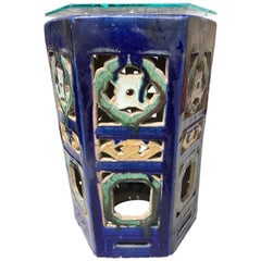 Garden Stool Blue Chinese Glazed Ceramic Porcelain Outdoor Indoor Side Table