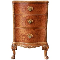 Antique Burled Maple French Carved Nightstand by Romweber