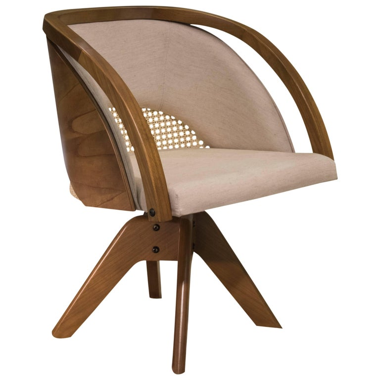 Flor Armchair, Contemporary in Brazilian Wood an Rotating Feet by Marta Manente