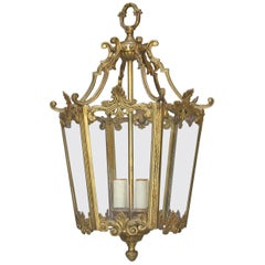 Gilt Brass Hexagonal Louis XV Style Hall Lantern