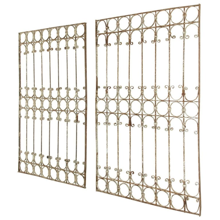 Pair of Large French Hand-Forged Iron Partitions, Grills, Gates