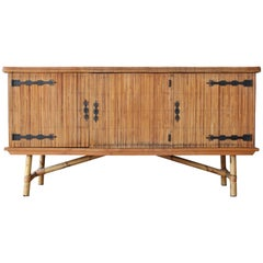 Bamboo Credenza by Audoux-Minet, France, 1960s