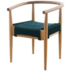 Captains Chair, Handmade Modern White Oak and Rope Woven Seat Armchair