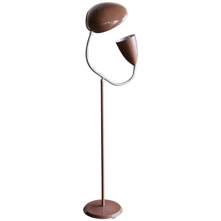 Rare Double Shade Floor Lamp 'Cone and Cobra' by Greta Grossman