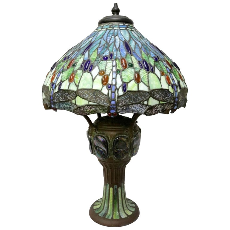 Tiffany Studios Style Vintage Stained Glass Bronze Lamp