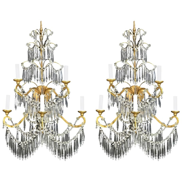 Massive Pair of Baltic Russian Style Crystal Sconces