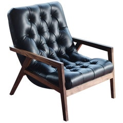 Regina Lounge Chair with Walnut Frame and Leather Diamond Tufted Upholstery