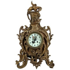 French A.D. Mougin Rococo Style Bronze Mantel Clock, Dragon Motif, circa 1880