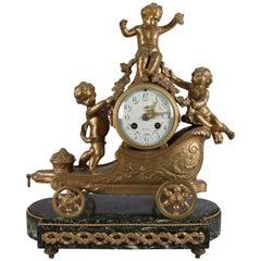 Antique French Gilt & Marble Cherub Chariot Figural SH Paris Mantel Clock