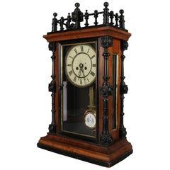 German Aesthetic Movement Carved, Gilt and Ebonized Walnut Mantel Clock