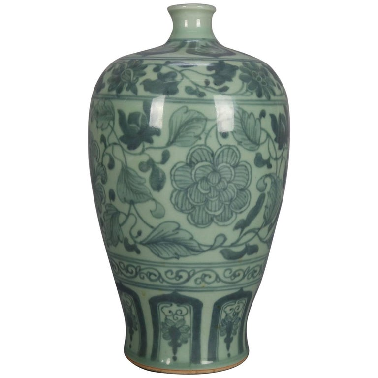 Chinese Celadon Porcelain Vase, Floral and Leaf Decoration, 20th Century