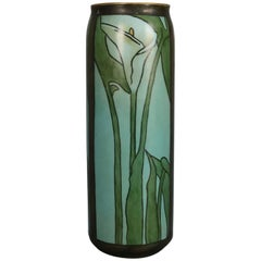 Arts & Crafts Newcomb School Hand-Painted and Gilt Stylized Calla Lily Vase