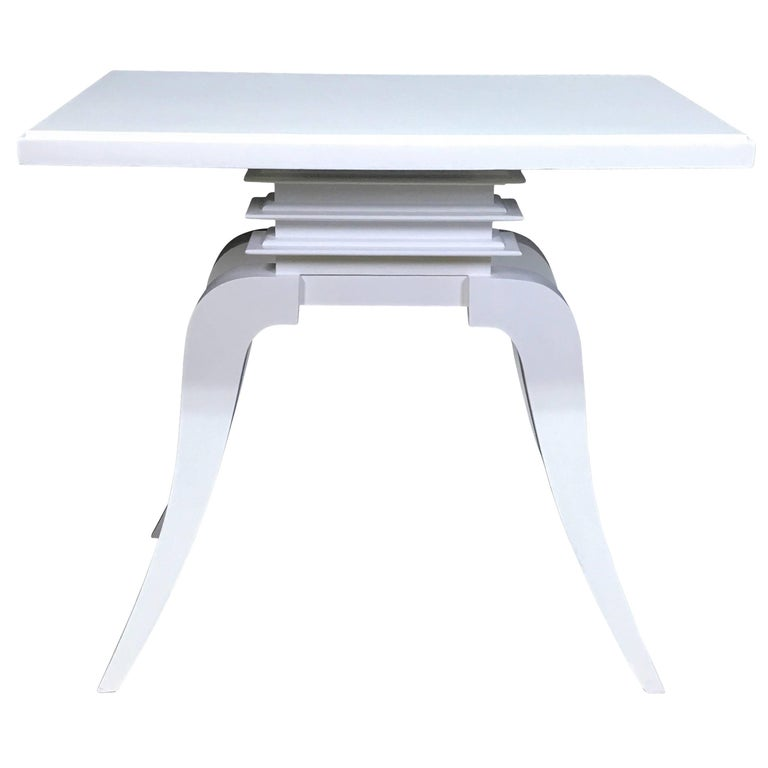 "Art Deco White Lacquered ""Bell"" Table by Paul Frankl"