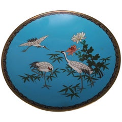 Antique Japanese Cloisonne Enameled Pictorial Charger, Marsh Scene & Herons