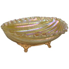 Large Loetz School Mouth Blown Art Glass Melon Bowl, Gilt Stand, circa 1910