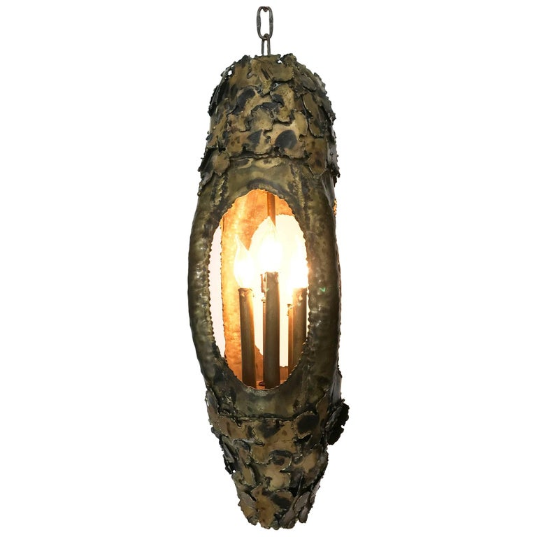 Brutalist Pendant or Lantern Executed in Torch-Cut Brass by Tom Greene, 1960s