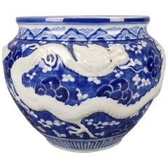 Chinese Hand-Painted High Relief Porcelain Dragon Jardeniere, Blue and White