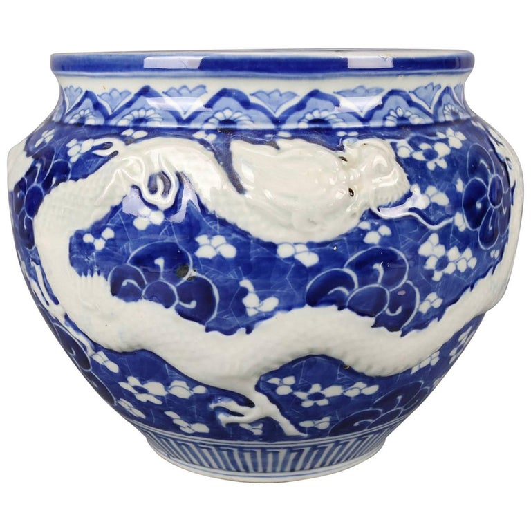 Chinese Hand-Painted High Relief Porcelain Dragon Jardeniere, Blue and White For Sale