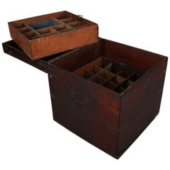 Antique Apothecary Handled Storage Box with Interior Tray, 19th Century
