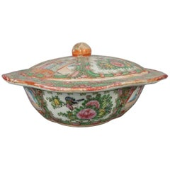 Antique Chinese Rose Medallion Hand Painted Porcelain Tureen, circa 1900