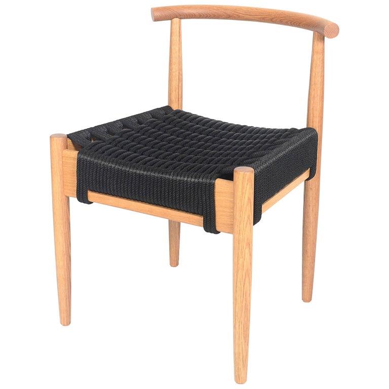 Phloem Studio Harbor Chair, Handmade Modern White Oak and Rope Woven Seat Chair For Sale