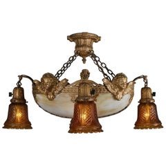 Antique Classical Style Figural Bronzed and Slag Six-Light Bowl Chandelier