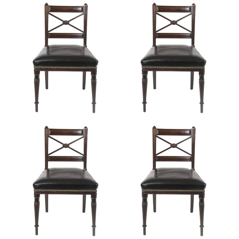 Set of Four 19th Century English Mahogany Side Chairs