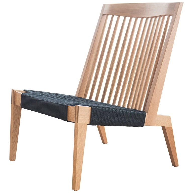 Swift Easy Chair, Modern Spindle Back White Oak and Rope Woven Lounge Chair For Sale