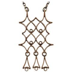 Björn Weckström for Lapponia Finland, Vintage Modernist Large Necklace in Bronze