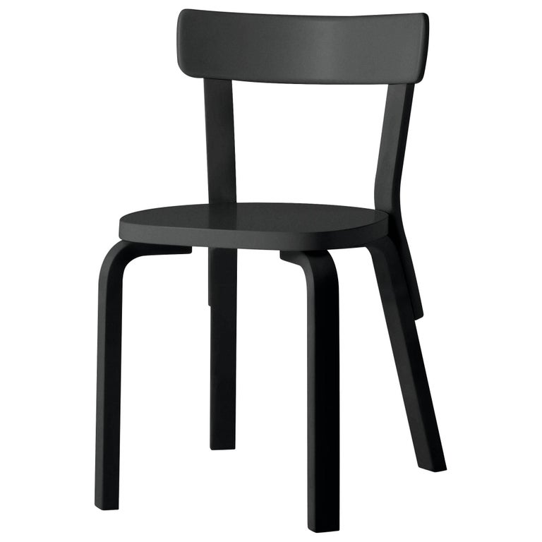 Authentic Chair 69 in Birch with Black Lacquer by Alvar Aalto & Artek