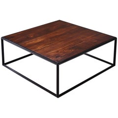 Wood and Brown Brass Occasional Handmade Table by P.Tendercool in Stock