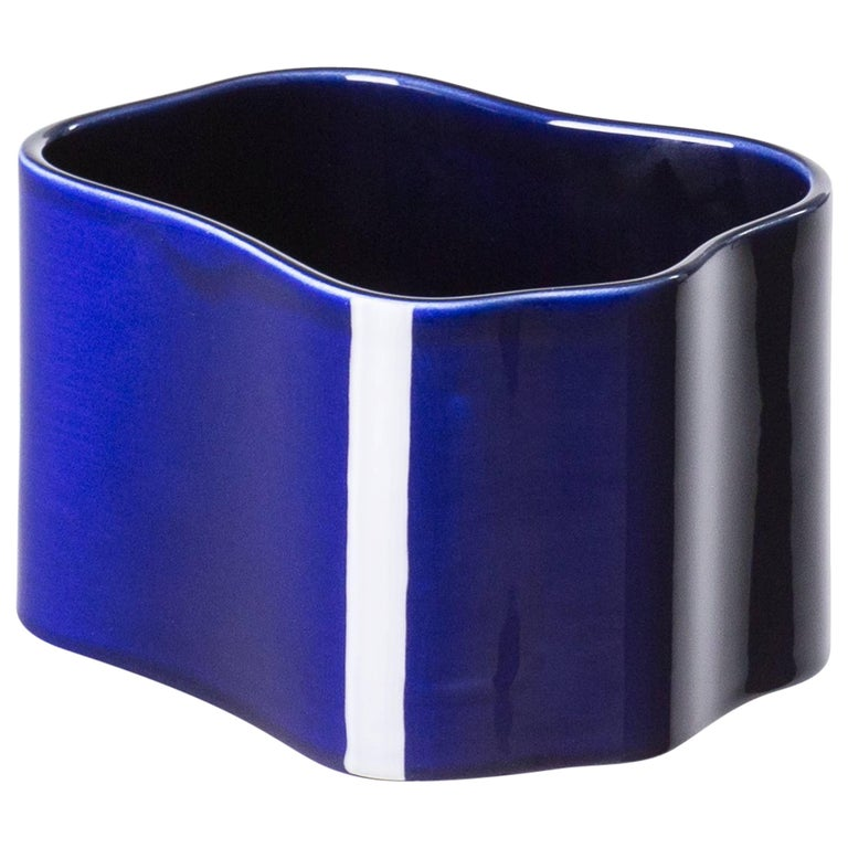Authentic Small Riihitie Plant Pot B in Blue by Aino Aalto & Artek For Sale