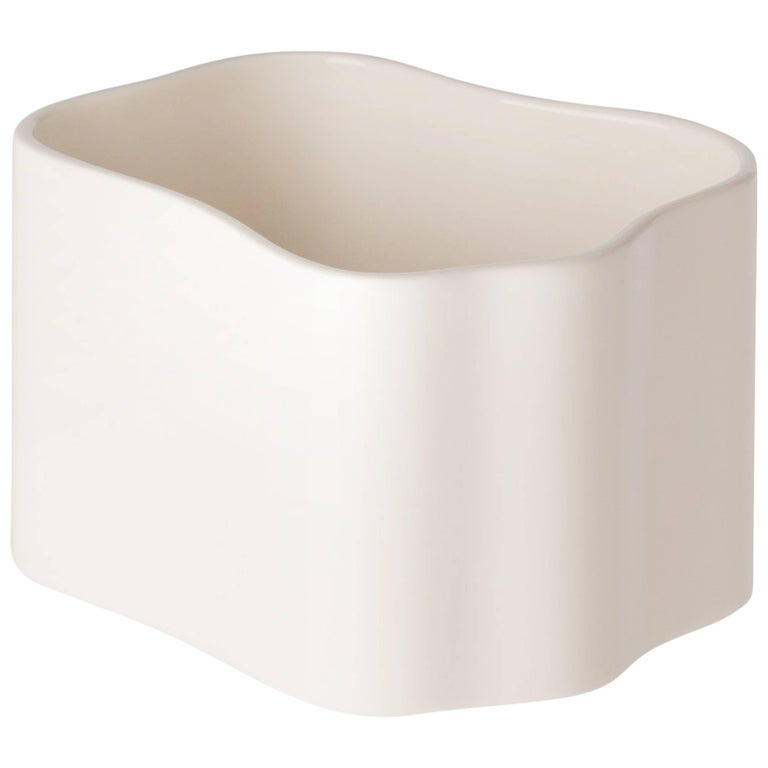 Authentic Small Riihitie Plant Pot B in White by Aino Aalto & Artek For Sale