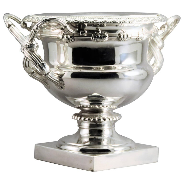 Monumental Cast and Silver Plated Magnum Champagne/Wine Cooler England, 1820