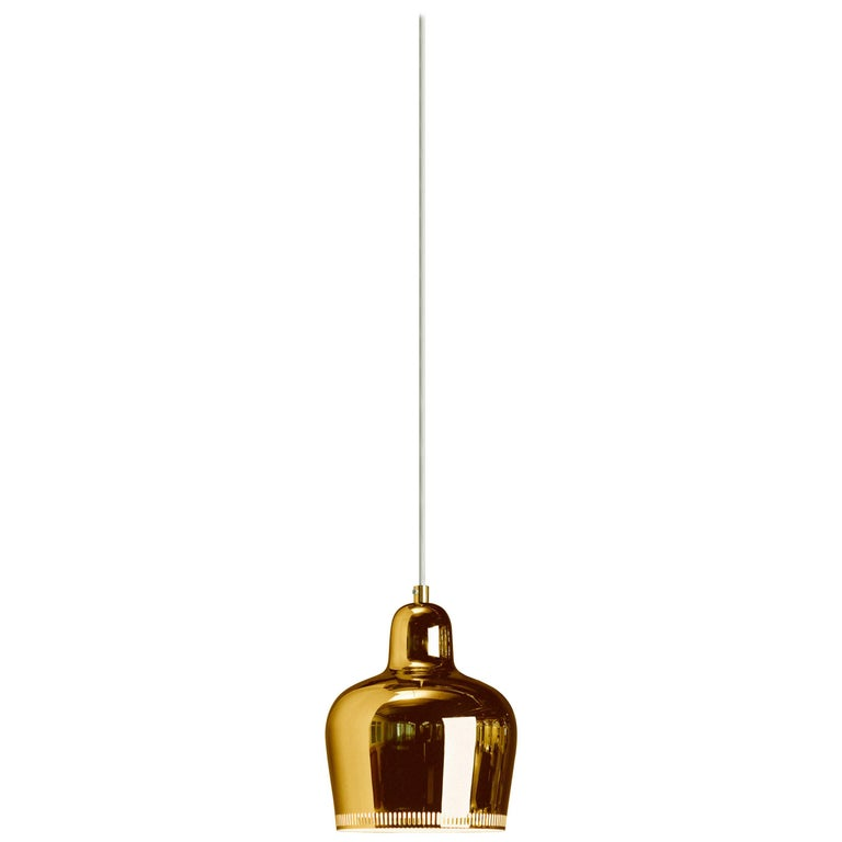 "Authentic Pendant Light A330S ""Golden Bell"" Coated Brass by Alvar Aalto & Artek"