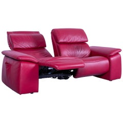Himolla Designer Sofa Red Two-Seat Couch Germany Electric Recliner