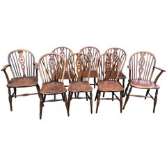 19th Century Harlequin Set of Eight Wheel Back Windsor Chairs