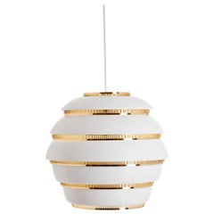 "Authentic Pendant Light A331 ""Beehive"" in White with Brass, Alvar Aalto & Artek"