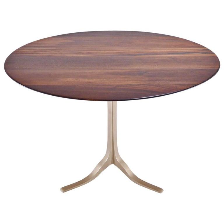 Bespoke Round Table, Reclaimed Hardwood, Brass Base by P. Tendercool in Stock