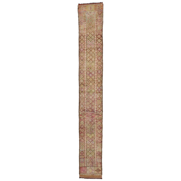 Vintage Turkish Oushak Runner, Extra-Long and Narrow Hallway Runner