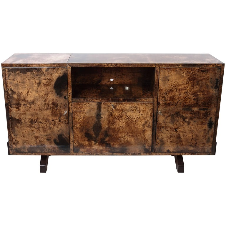 Italian Midcentury Lacquered Goatskin Bar or Sideboard Designed by Aldo Tura