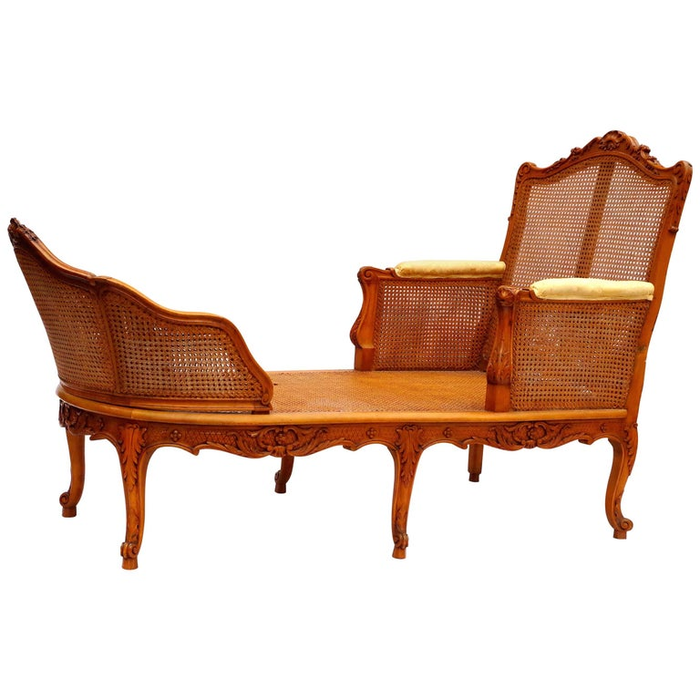 Cane Chaise Longue in Natural Wood, Regence Style, circa 1950