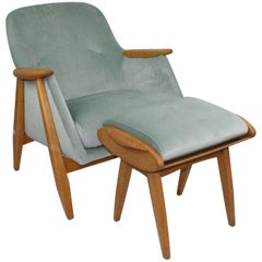 Svante Skogh Chair with Stool for Asko Finland, Design 1954