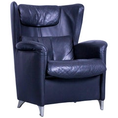 WK Wohnen 609 Designer Armchair Wingback Leather Black Couch Modern
